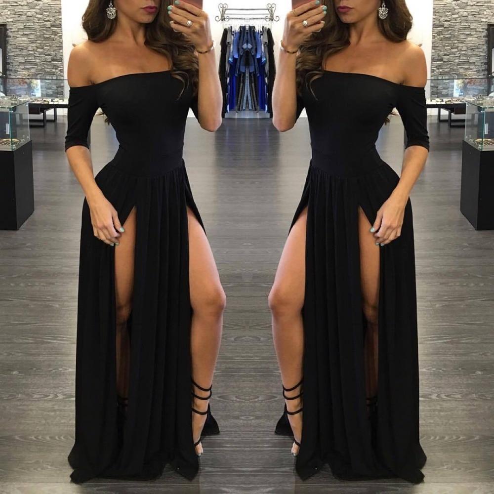 Aliexpress.com : Buy Brief stylish black dresses women high split ...