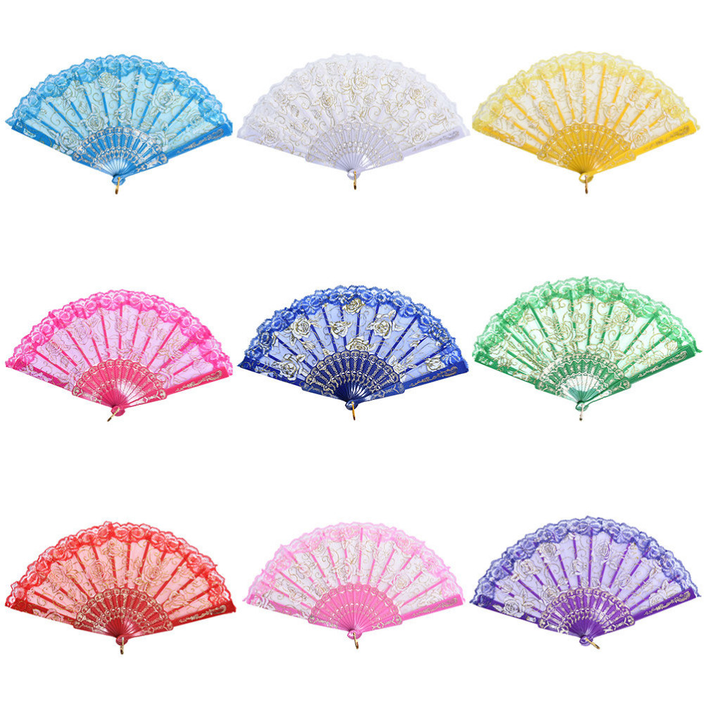 10 Colors Lace Rose Flower Embroidered Plastic Hand Fan Folding Fan ...