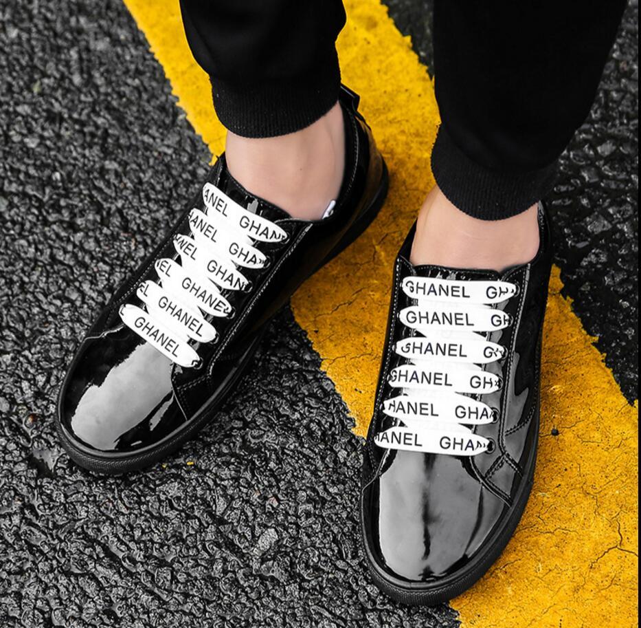 Argent Miroir Black Nouveaux Casual silver Chaussures Mode Lumière Shoesbritish Hommes De Vent Peinture Or golden En D'été Cuir 2WHE9DI