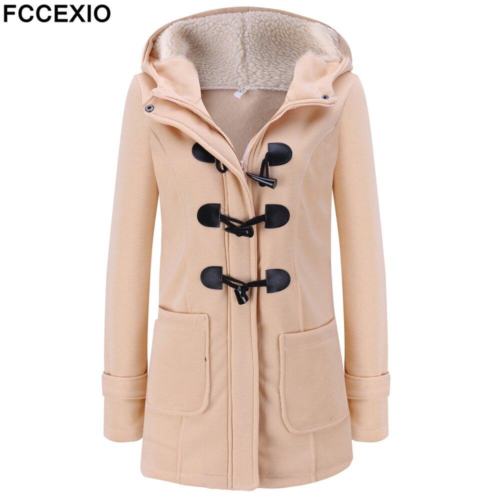 FCCEXIO 2019 Women's Wool Coat Autumn Winter Women Long Trench Coat Cotton Woollen Women Overcoat Hooded Fashion Coats S-5XL