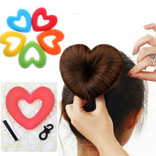 Portable  Women Lady Hair Donut Bun Heart Maker Magic Foam Sponge Princess Hairstyle Hairbands+Clip Bband Free Shipping