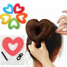 Portable Women Lady Hair Donut Bun Heart Maker Magic Foam Sponge Princess Hairstyle Hairbands+Clip Bband
