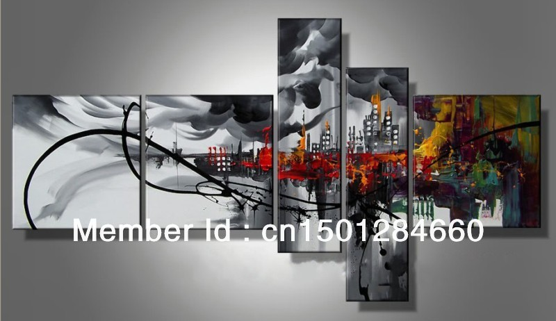 Modern oil painting pictures home decoration 5 piece Abstract city paintings handmade canvas black red wall art - Art SpaceStation's store