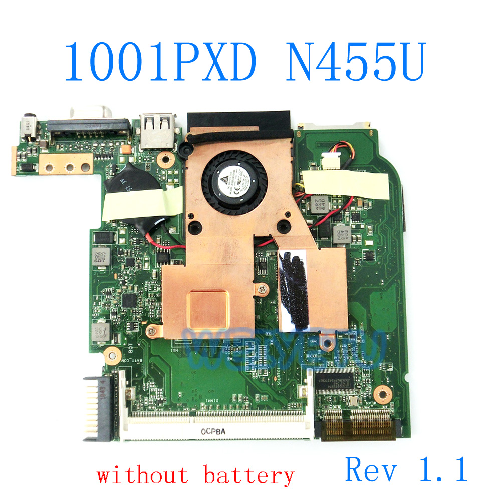 1001pxd Motherboard With N455 Cpu Heatsink Rev 1.1 For Asus Eeepc 1001pxd Laptop Mainboard Main Board Mainboard 100% Tested