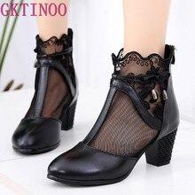 c457991dc4 GKTINOO 2019 Primavera Arco Verão Malha Sandálias de Couro Genuíno Botas  Mulheres Ankle Boots Elegante Conforto Sapatos Da Moda .