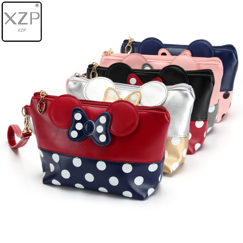 XZP Cosmetic-Bag Organizer Beauty-Case Mickey Fashion Wash PU Dot Bow-Dot
