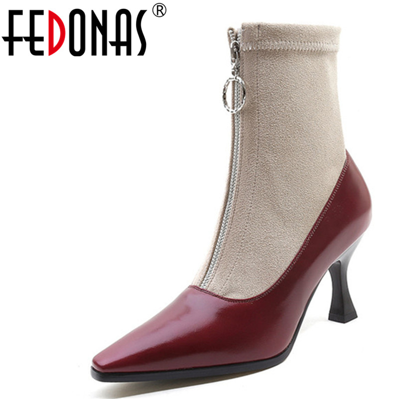 FEDONAS 2018 New Women Sock Boots Pointed Toe Elastic High Boots High Heel Ankle Boots Women Stiletto Pumps Female Shoes Woman