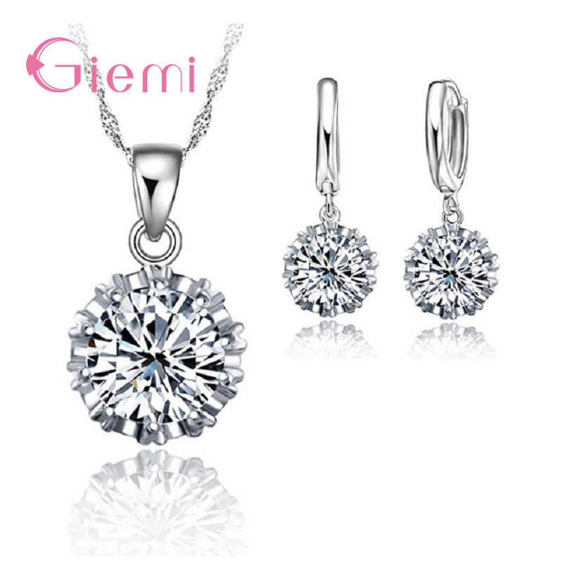 TrendySilver 925 Sterling Silver Jewelry Sets for Women Shiny Zircon Pendant Female Elegant Necklace Earrings Best Wedding Gifts