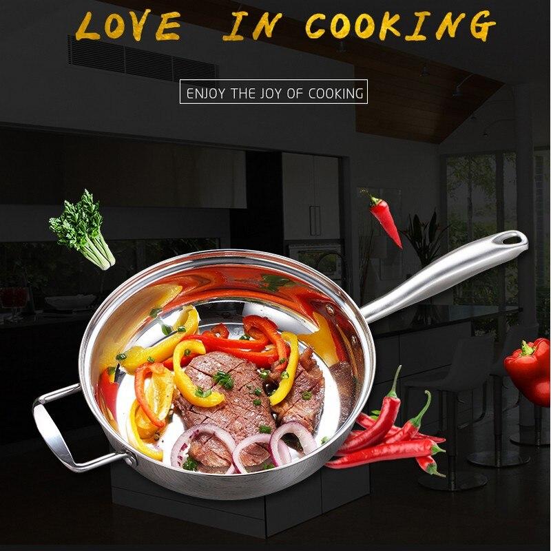 Nouveau 24 cm chinois en acier inoxydable poêle Woks cuisine marmite ustensiles de cuisine pour Induction cuisinières casserole Restaurant poêle à frire