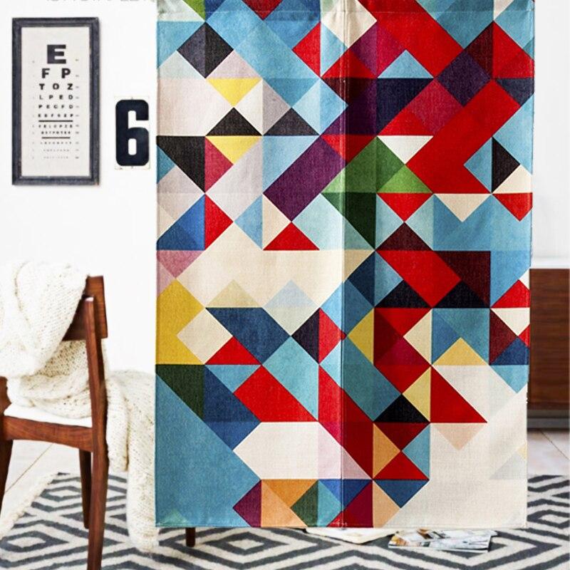 New Linen NOREN Japanese Style Door Curtain Simple Style Deer Geometric  Parrot Tapestry 85x120cm/85x90cm
