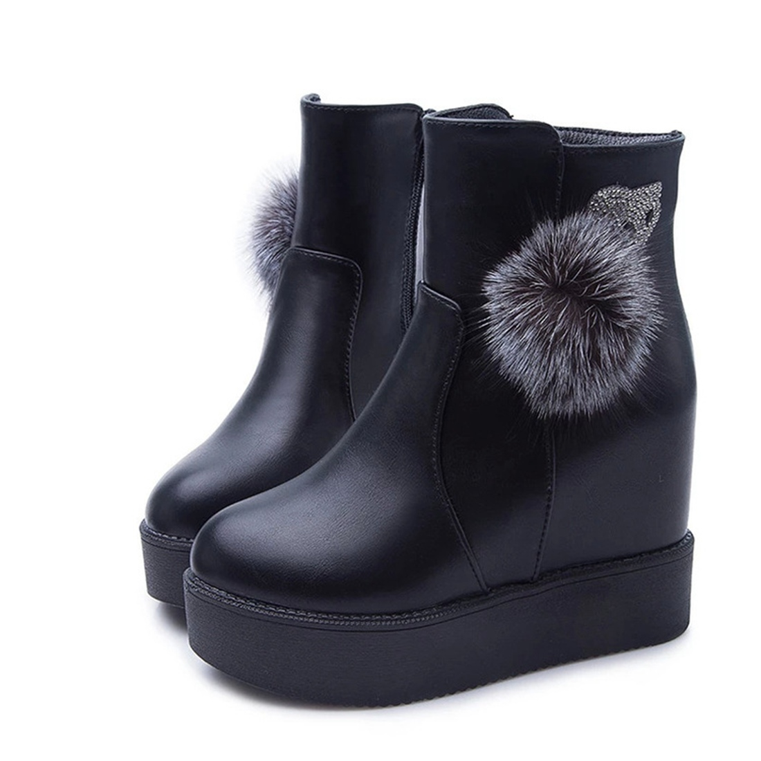 Womens Fashion Warm High heel Snow Boots Fox Drill Ball Winter Shoes Punk England Increase Platform Wedge Ankle Boots