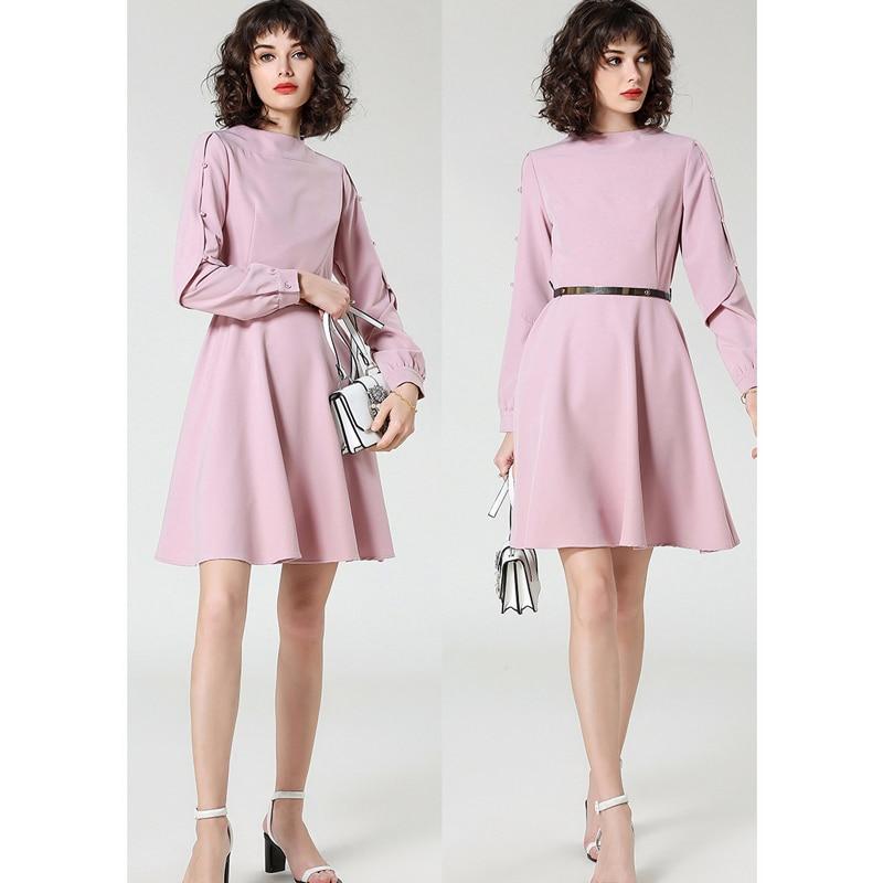 Sexy ligne Beige Casual Longues Manches 2018 Élégance Burdully Travail Robes Papillon Taille pink Robe À Haute Automne Femmes A Dames UxEaF