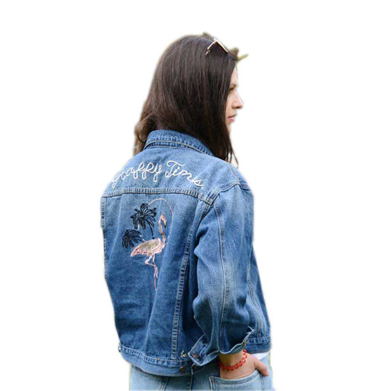Women Basic Jackets Flamingo Embroidery Women Denim Jacket Short Jeans Coats Woman Clothes Casual Outwear HM083