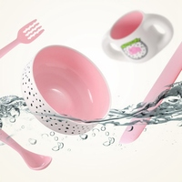 Baby Feeding Bowl Plastic Dinnerware Set 5pcs Service Plate Forks Spoon Cup Dinnerware Set Kids Tray Tableware Dishes