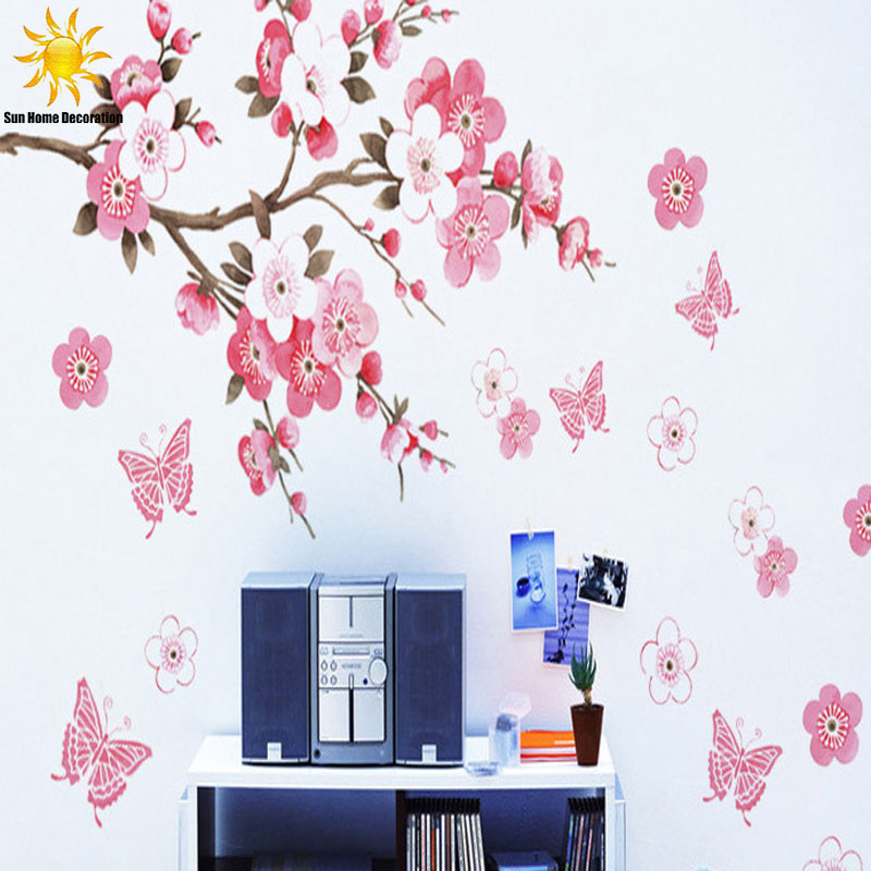 Aliexpress.com : Buy Removable PVC Modern Peach Blossom Butterfly Home Decor  Art Wedding Room Girls Room Wall Stickers Decal Poster From Reliable Home  Decor ... Part 47