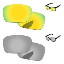 61f7f7263ce51 Cromo de plata y oro 24 K 2 pares espejo polarizadas lentes para Holbrook  gafas de sol marco 100% UVA y UVB protección