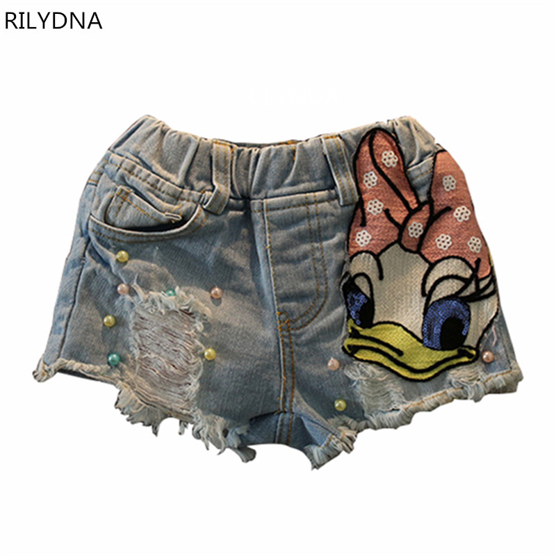 New arrive Baby girl Denim shorts jeans Cartoon Duck design summer cotton children shorts kids Cool denim shorts girls clothes destroyed raw hem denim shorts