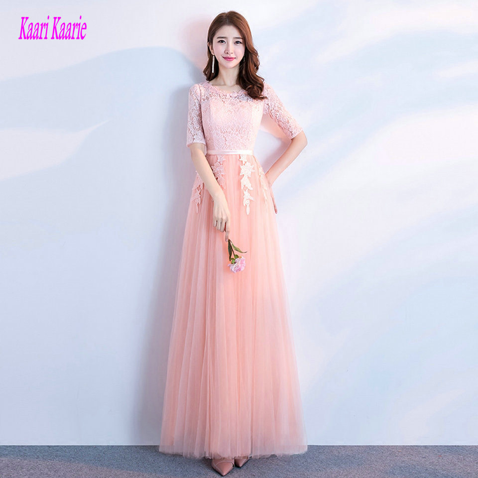 Fashion coral   Prom     Dresses   Long 2018 Sexy Champagne   Prom     Dress   Scoop Tulle Half Sleeve Lace Up Formal Women Party Gown Evening