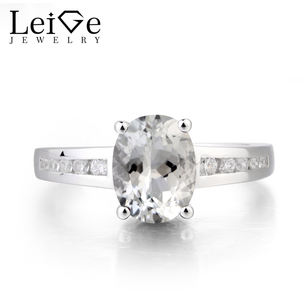 Leige Jewelry Natural White Topaz Ring Topaz Wedding Ring November Birthstone Oval Cut Gemstone Solid 925 Sterling Silver Gifts