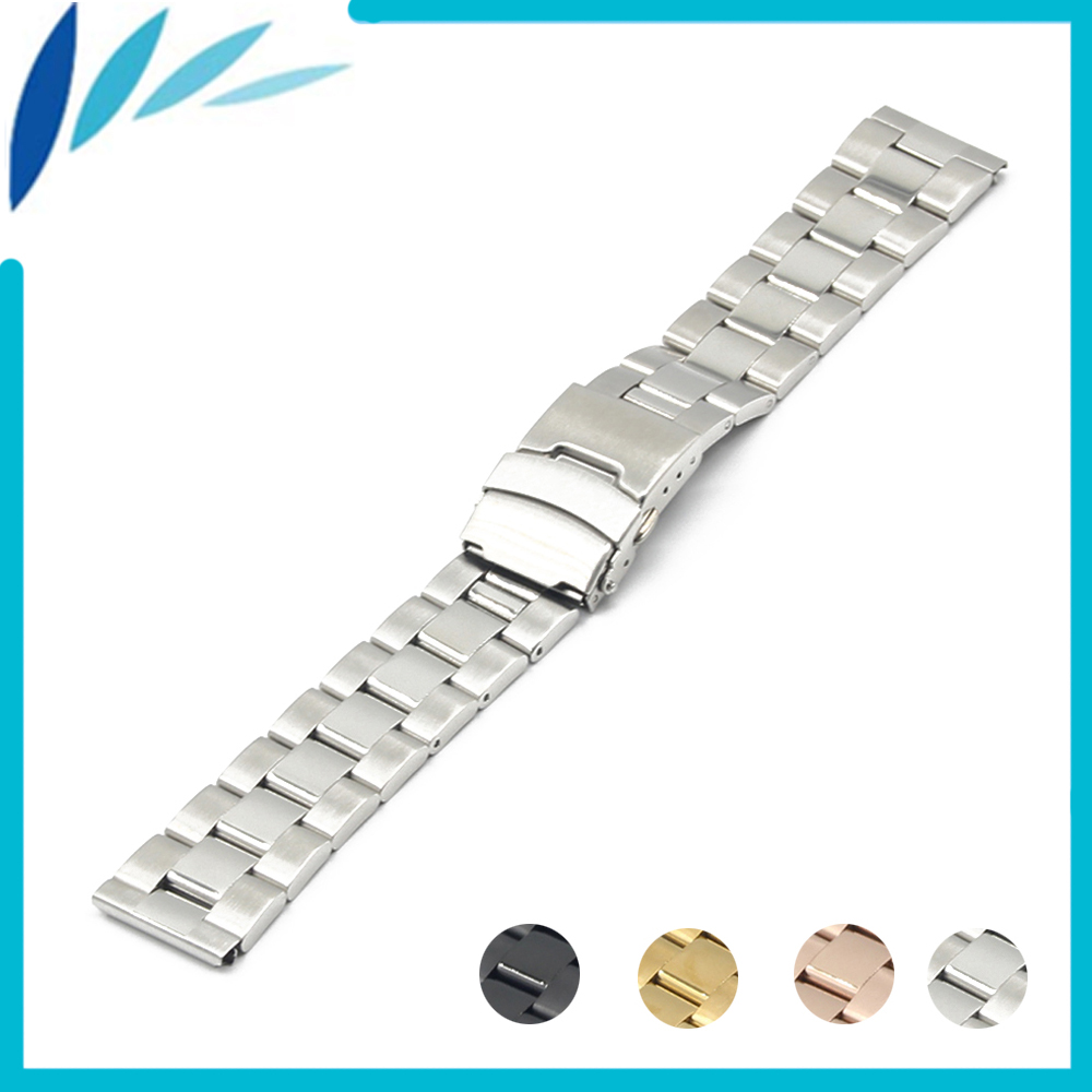 Stainless Steel Watch Band 18mm 20mm for DW Daniel Wellington Safety Clasp Strap Loop Belt Bracelet Black Silver + Spring Bar