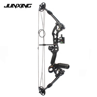 34 Inches Compound Bow with Sight Brush Stabilizer D Ring Wrist Ropes and Release Aid for Outdoor Archery Hunting Shooting