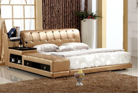 High quality factory price royal large king size Genuine leather soft bed bedroom furniture tatami soft bed 3401