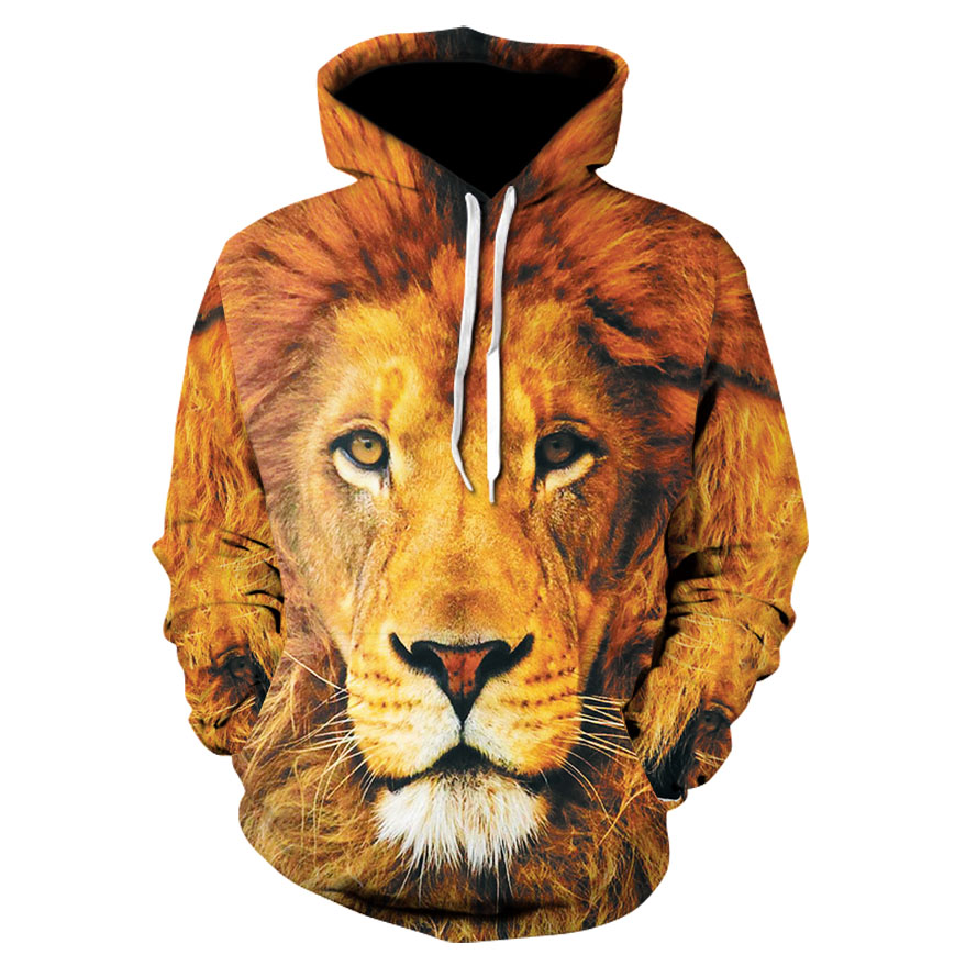 High quality men's hooded sweatshirt European and American style autumn and winter 3D thin lion fashion hoodie Hooded pullover