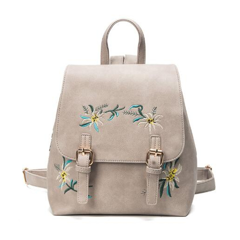 Dida Bear Brand Women Leather Backpacks Female School Bags For Girls Rucksack Small Floral Embroidery Flowers Bagpack Mochila #3