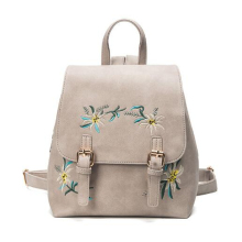 Women Leather Small Floral Embroidery Flowers Backpacks