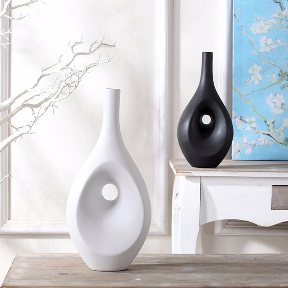 Popular black ceramic vase buy cheap black ceramic vase for Decoration hole