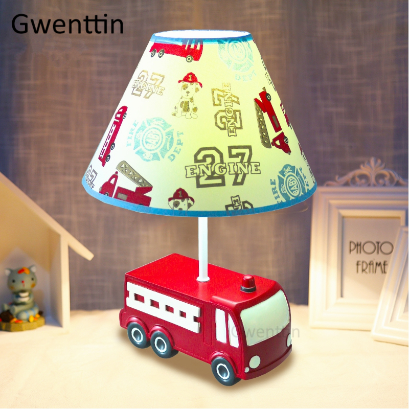 Fire Truck Resin Table Lamps for Childrens Room Bedroom Bedside Lamp Cartoon Cute Car Desk Light Kids Birthday Gift Home DecoFire Truck Resin Table Lamps for Childrens Room Bedroom Bedside Lamp Cartoon Cute Car Desk Light Kids Birthday Gift Home Deco