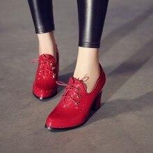 Женские туфли на высоком каблуке, туфли лодочки с глубоким вырезом и острым носком, на шнуровке, большой размер 11, 12, 13, 14, 15, 16