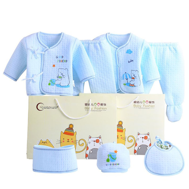 7pcs/set 100% Cotton Keep Warm Material New Born Baby Clothes Full Kits For Kids Cotton Material Baby Clothes Boy Girl Newborn недорго, оригинальная цена