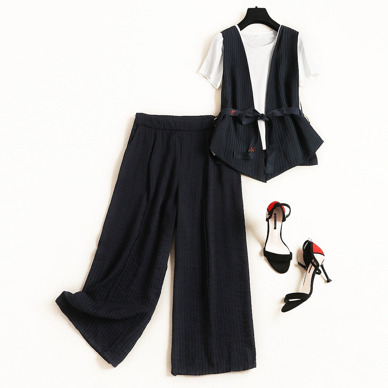 2019 New Summer Temperament Commuter Cardigan Vest Inside Solid Color T-shirt Striped Wide-leg Pants Three-piece