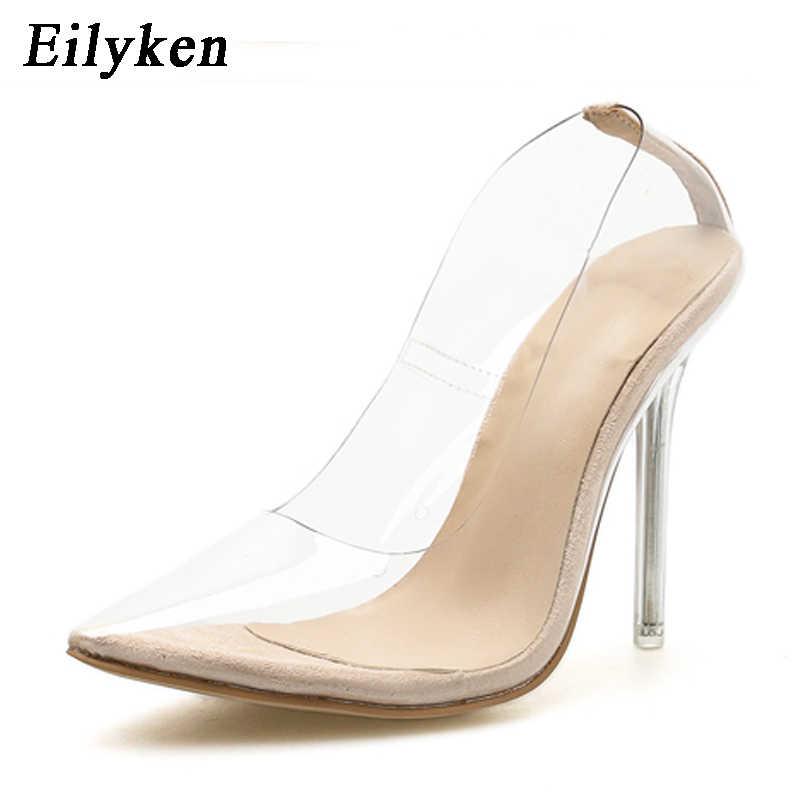 8aec7d45b2d Eilyken Clear PVC Transparent Pumps Sandals Perspex Heel Stilettos High  Heels Point Toes Womens Party Shoes Nightclub Pump 35-42