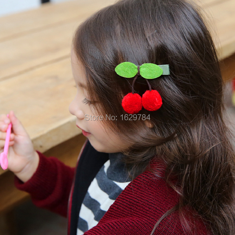 Wholesale 15pcs 3C Fashion Cute Felt Cherry Girls Hairpins Solid Kawaii Pom Pom Balls Girls Hair