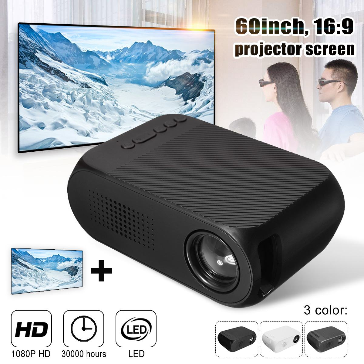 mini <font><b>7000</b></font> <font><b>Lumens</b></font> LED HD 1080p Mini Projector Multi-media Home Cinema Theater HDMI Multimedia Beamer Projector Black image
