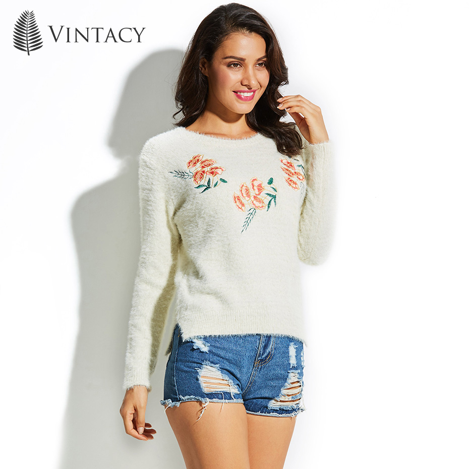 Vintacy Women Sweater Round Neck Long Sleeve Embroidery Floral Pullover 2018 Top Fashion Modern Female Girls Women's Sweater