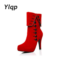 Fashion Women Boots 2017 High Heels Ankle Boots Female Causal Platform Brand Women Shoes Autumn Winter