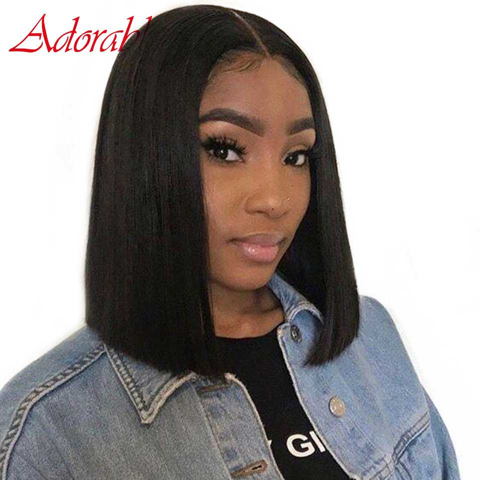 Lace Front Short Bob Wigs Human Hair Remy For Black Women Brazilian Straight Wig Pre Plucked Lace Frontal Wigs With Baby Hair(China)