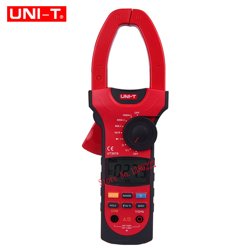 UNI-T UT207A True-RMS Digital Clamp Meter Multimeter ACA & DCA Clamp Meter 1000A, Voltage Current Resistance Frequency uni t ut205 ture rms auto manual range digital handheld clamp meter multimeter ac dc voltage aca test tool