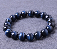 12mm Blue Tiger Eye Natural Stone Bracelets For Women And Men Jewelry Crystal Silver Charm Bracelets Bangles Elastic Rope Chain