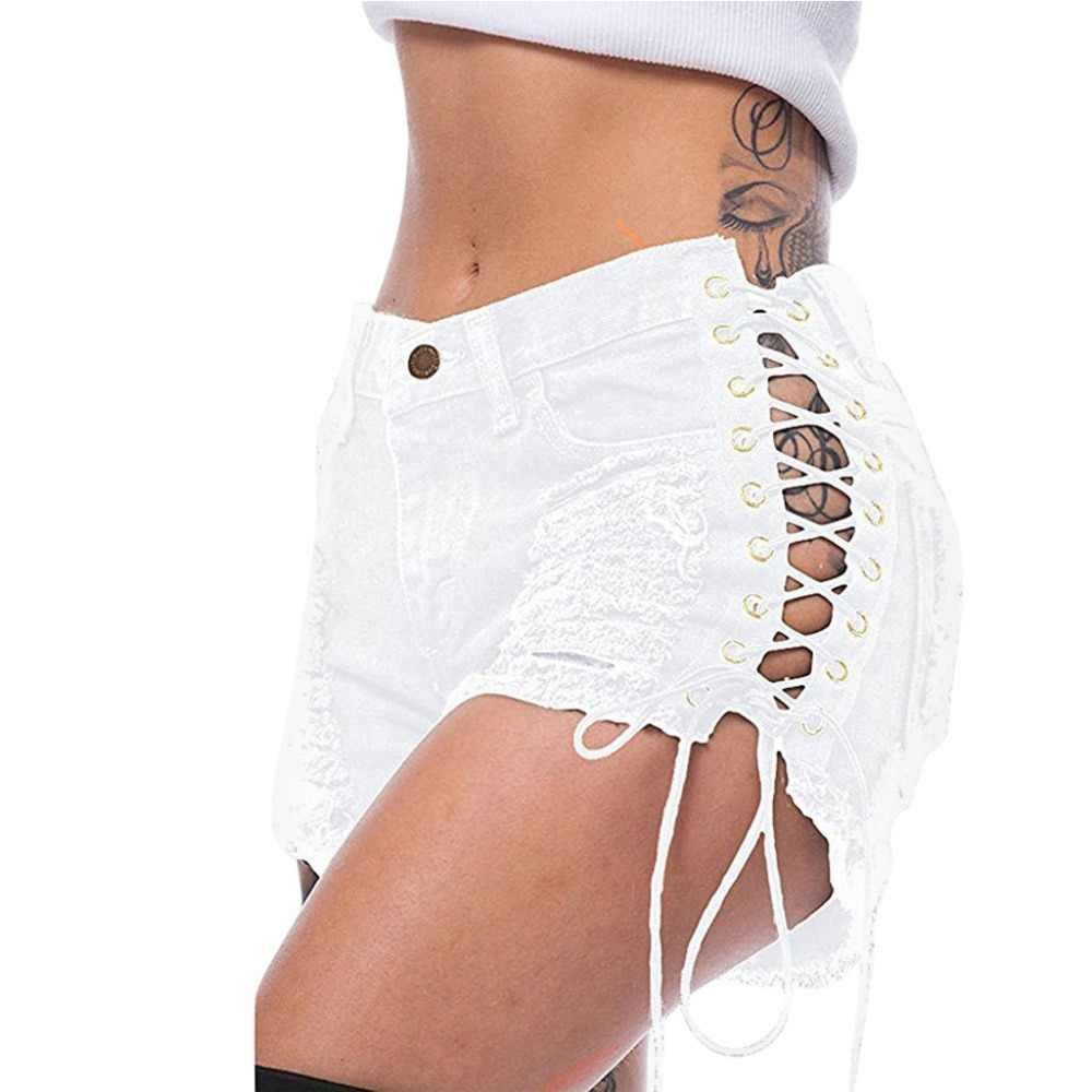 Sexy lato Plus Size kobiety Denim zgrywanie krótkie dżinsy wysokiej zwężone Tassel elastyczne wiązana bandażowa klub Hotpants dżinsy Femme BB4