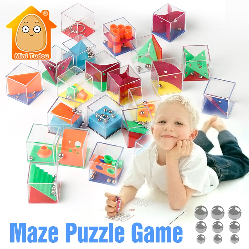 Mini Tudou Board IQ Game 3D Puzzle Maze With Beads Adults Cube Cognition Puzzle Box Enfant Learning Toy Kids Educational Toys