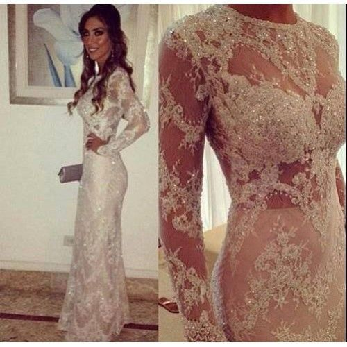 2016 New Design Crystals Lace Wedding Dress With Long Sleeves Round Neck Sheer Slim Sexy Wedding Gown Custom Made in Wedding Dresses from Weddings Events
