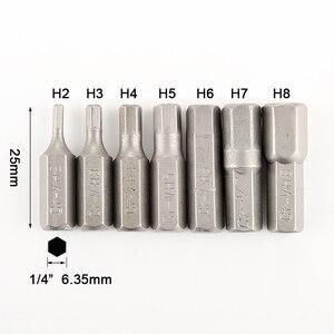 """Image 2 - 7 قطعة مجموعة أجزاء مفك البراغي السداسي 1/4 """"شانك سداسي 25 مللي متر لقم محرك برغي الرأس السداسي لأداة الطاقة H2 H3 H4 H5 H6 H7 H8"""