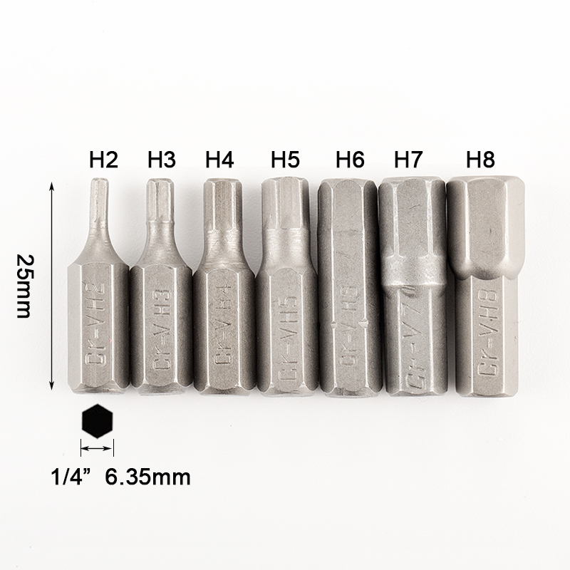 "Image 2 - 7pcs Hexagon Screwdriver Bit Set 1/4"" Hex Shank 25mm Hex Head Screw Driver Bits For Power Tool H2 H3 H4 H5 H6 H7 H8-in Screwdriver from Tools"