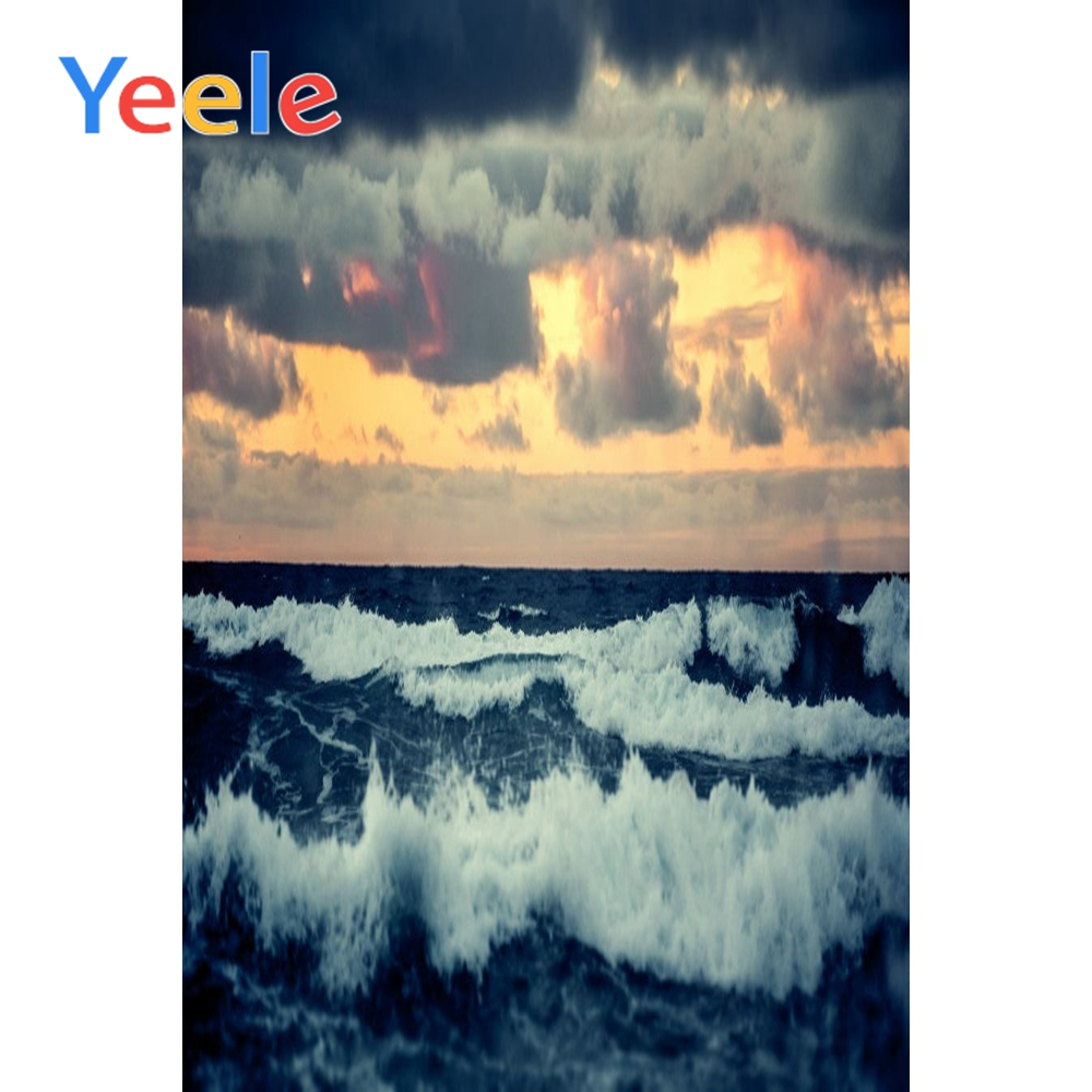 Yeele Cloudy Sky Seaside Wave View Sunset Glow Wedding Portrait Photography Backdrops Photographic Backgrounds For Photo Studio in Background from Consumer Electronics