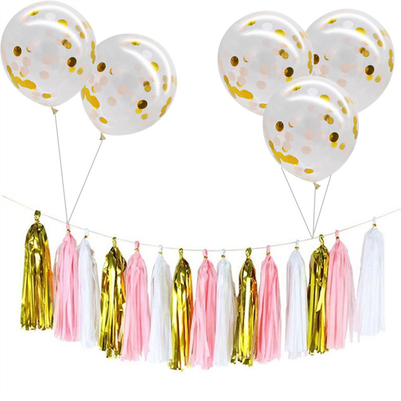 12 inch Latex Balloon Sequin Confetti Balloon Paper Tissue Tassel Garland DIY Birthday Party Baby Shower Wedding Decoration