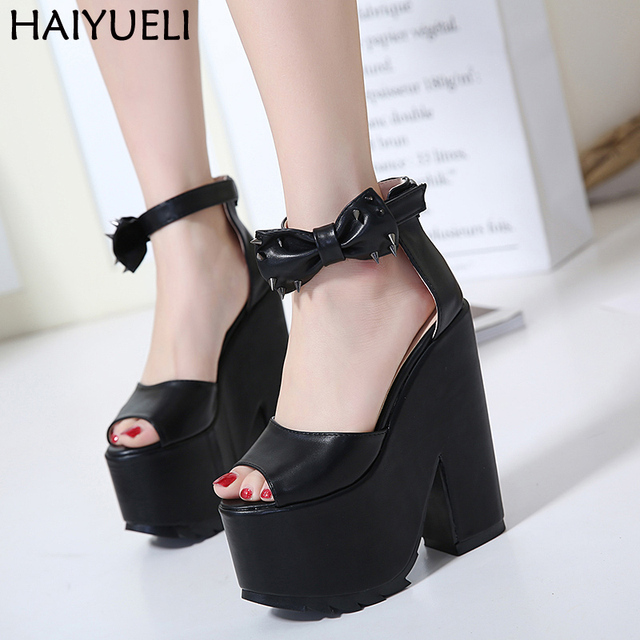 8a23a5f3002 Punk High Heel Sandals Motorcycle Peep Toe Gladiator Platform Sandals With  Heels Casual Thick Heel Shoes